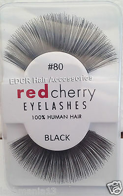 NEW Red Cherry 100% HUMAN HAIR #80 False Lashes ** Natural Looking Styles**