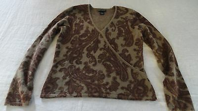 Daniel Bishop Pure Cashmere Sweater Misses L Brown Taupe Paisley Demi Wrap Style