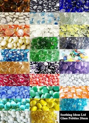 100 (app 450g) Coloured Glass Pebbles 20mm Home Wedding Mosaic Garden 22 Colours