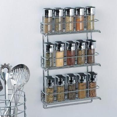 Organize It All 3-Tier Wall Mounted Chrome Spice Rack Kitchen Storage