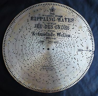 "1898 13 7/8"" SWISS MUSIC BOX DISK - RIPPLING WAVES"
