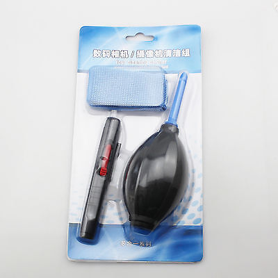 New 3 in 1 Len Cleaning Cleaner Dust Pen Blower Cloth Kit For Canon/Nikon Camera