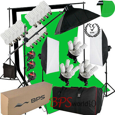 Photo 2850W Softbox Soft Lighting Kit Boom arm Studio 3 Cotton Background Stand