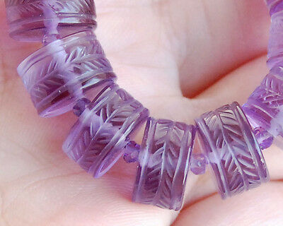 RARE UNIQUE AAA African Amethyst Carved Heishi Bead 1PC ONE OF A KIND!!!