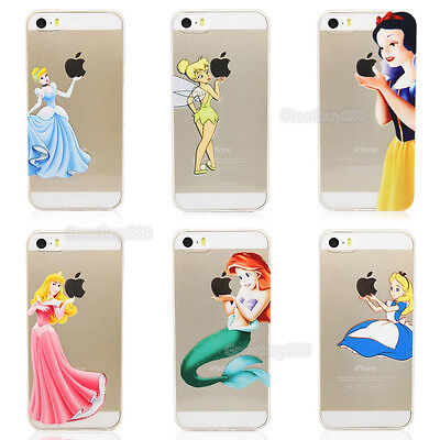 Ultra Thin Cartoon Princess Clear TPU Soft Case for iPhone5 6 7 8 Plus X&Samsung