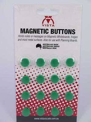 16 x GREEN 15mm Vista Whiteboard Magnetic Button VWMAG15G
