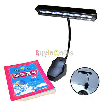9 LED Clip Light Orchestra Arm Flexible Music Stand Adapter Book Reading Lamp RS