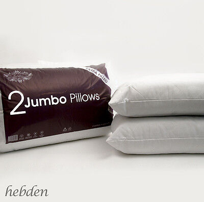 Pack of 2, 4 or 8 Extra Filled Quilted Jumbo Bed Pillows Hotel Quality