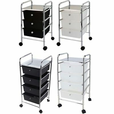 3 4 Tier Drawer Trolley Black White Portable Storage Wheels New By Home Discount