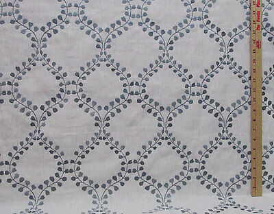 """White Linen Fabric w/ Gray Blue Embroidered Diamond Leaf Leaves Pattern 72"""" Long"""