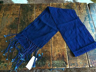 Polo Ralph Lauren Purple Label Long Blue Cotton Fringed Scarf One Size