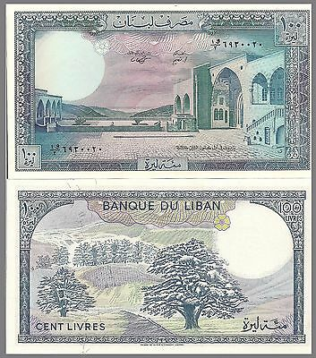 Lebanon P66d 100 Livres,  Palace  / cedar trees - 1988 UNC Large Beauty! $4+ CV!