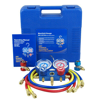R134a R410a R22 AC A/C Manifold Gauge Set 4FT Colored Hose Air Conditioner