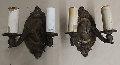 Antique Brass Bronze Sconce Pair Wall Light Decorative Swags Acanthus 4053-14