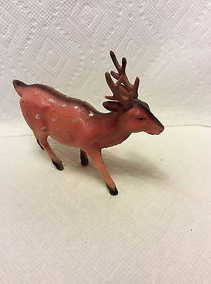 OLD PAINTED CELLULOID CHRISTMAS PUTZ REINDEER