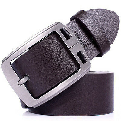 Mens fashion Leather Cowhide Vintage Classic Jean Pin Buckle Belts Brown Elegant