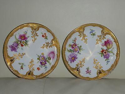 KPM Berlin TASSE NEUZIERAT Hand Painted Bowls with Floral & Gold Decoration