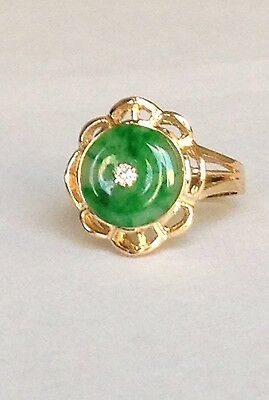 natural green jadeite and diamond in 18k solid yellow gold ring