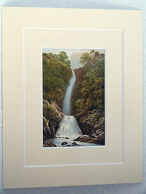 Scale Force English Lake District Very Rare Antique Double Mounted  Print 1880