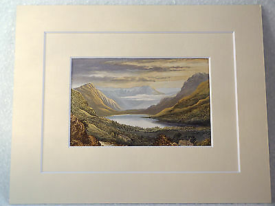 Buttermere Very Rare Antique Victorian Double Mounted Print 1880 10X8 Overall