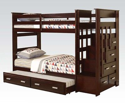 Espresso Wood Twin Bunk Bed W/ Staircase Storage Drawers & Trundle