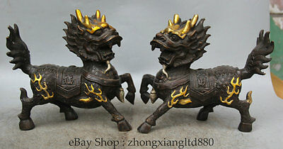 "9"" Chinese Bronze Gild Silver Wealth Kylin Chi-lin Qilin Statue sculpture Pair"