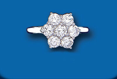 LADIES Silver Cluster Ring Large Cubic Zirconia Sterling Silver BS0065 (L-Q)