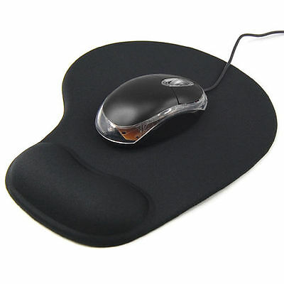Black Anti-Slip Comfort Mouse Mat Pad With Gel Foam Rest Wrist Support Pc Laptop