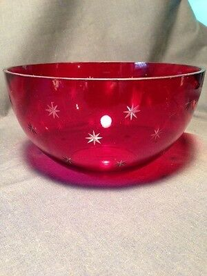 Teleflora Red Crystal Bowl Etched Stars