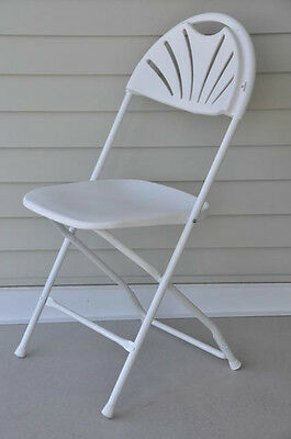 8 White Plastic Fan Back Folding Chairs Stacking Commercial Chair FREE SHIPPING