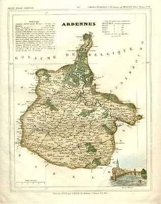 French Department of Ardennes. Antique map by Charles Monin c1833