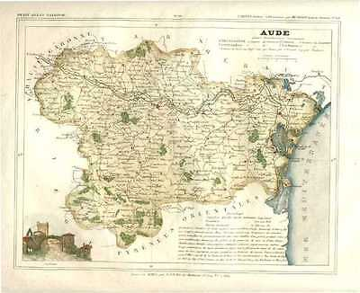 Antique map of French Department of Aude, by Charles Monin. France c1833