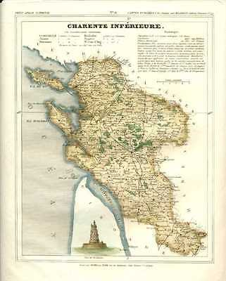French antique map of Department of Lower Charente (Charente Inf.) Monin c1833