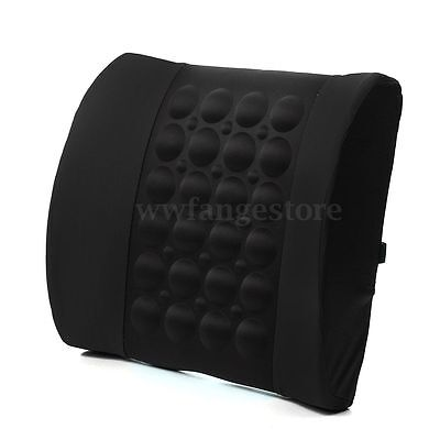 Black Car Seat Back Lumbar Support Electrical Massage Cushion Pillow 12V Protect