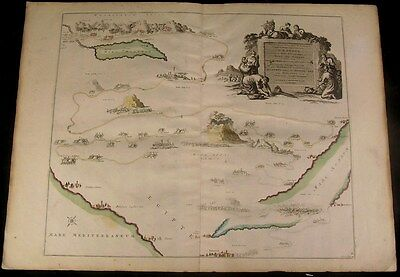 Voyage out of Israel to Egypt c. 1740 Covens & Mortier antique map old color