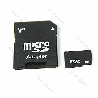 4G 4GB Micro SD T-Flash TF MicroSD to SD Memory Card Reader Adapter + Case New