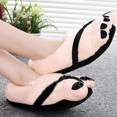 Funny Endearing Winter Soft Velvet Cartoon Warm Toe Big Feet Home Floor Slippers