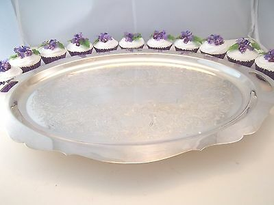 LARGE FOOTED SILVER PLATE TRAY WITH CUT OUT HANDLES 12 FAKE FOOD CUPCAKES NEW