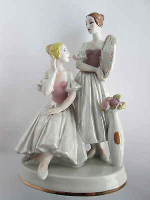 ANTIQUE KIEV PORCELAIN FIGURINE BALLERINAS WITH A MIRROR BEFORE PERFORMANCE USSR