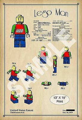 1979 Colorized Patent Art Print Lego Toy Man Figure Play Room Poster Vintage