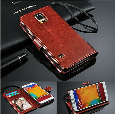 Genuine Leather Photo Flip Wallet Phone Case Cover For Samsung Galaxy Note 4