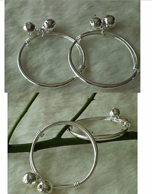925 Silver Plated cute Baby Bangle Baby Bell Bangles