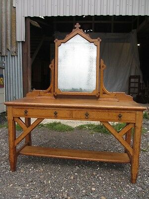 Superb Victorian carved oak gothic revival swing mirror dressing table (427)