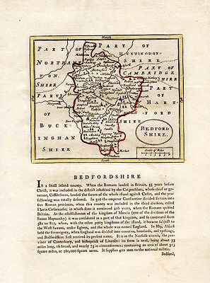 Bedfordshire County antique map by Seller/Speed. Grose c1787