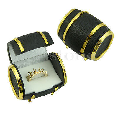 Cute Beer Barrel Velvet Lined Ring Earring Jewelry Display Gift Storage Box Case
