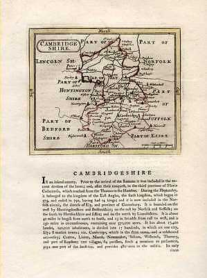 Cambridgeshire County antique map by Seller after Speed. c1787