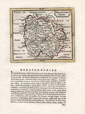Herefordshire county map and history by Francis Grose c1787