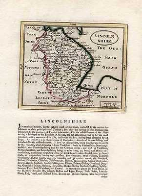 Lincolnshire county antique map by Seller/Speed. Grose c1787