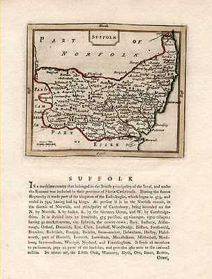 Suffolk County antique map c1787 after John Speed.