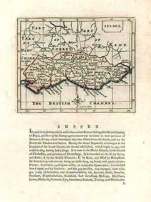Sussex antique map after Seller & John Speed c1787.